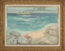 """GEORGES LAMBERT /""""SUR LA PLAGE/"""" Hand Signed Limited Edition Art Lithograph"""