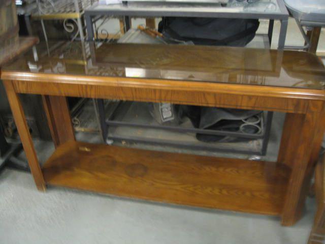 """Smoke Glass Top Oak Sofa Table 53"""" W X 16"""" D X 2"""