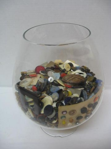 Large Glass Fish Bowl Vase FULL OF VINTAGE BUTTONS