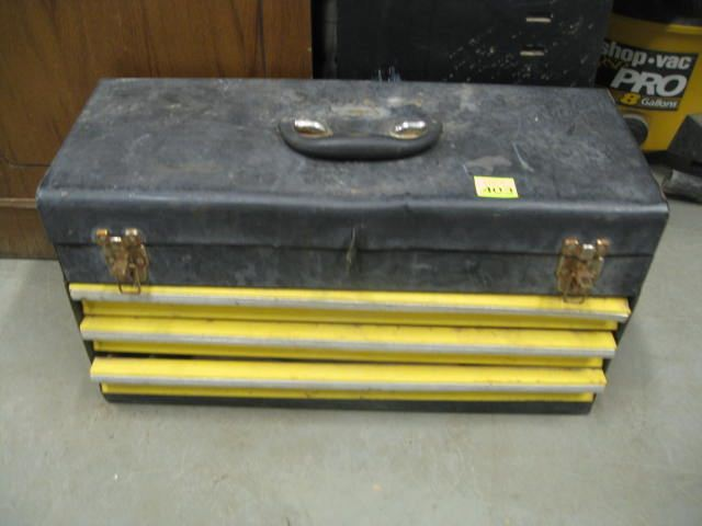 Metal Tool Box with Assorted Tools
