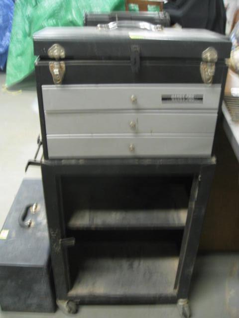 Handy Pro Tool Box on Cart & Misc Items Inside