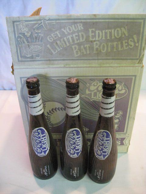 (12) Coors Light Bat Bottles IN ORIGINAL BOX