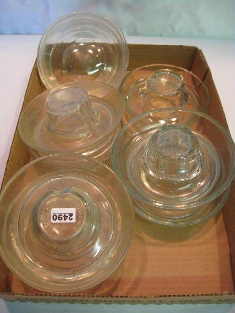 (9) Vintage Glass Chick Water Bases