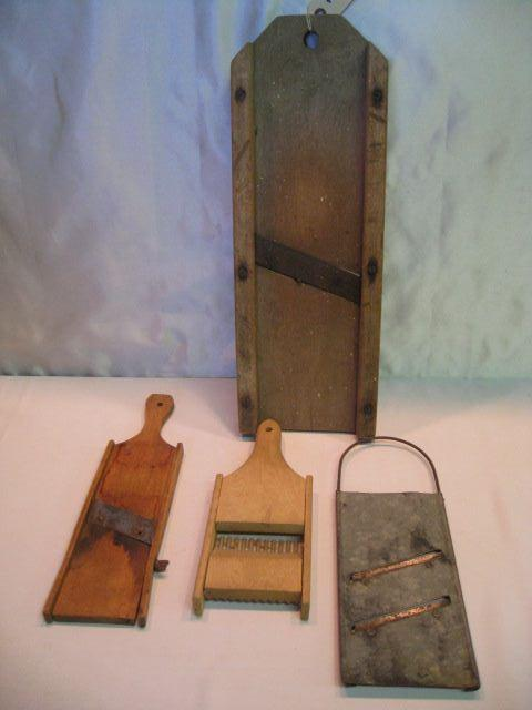 (4) Assorted Wood & Metal Vegetable Slicers