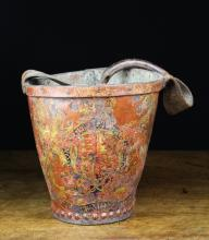 A 19th Century Leather Fire Bucket with painted armorial crest.