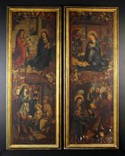 A Pair of Tall 15th Century Style Paintings on Panel. One depicting 'The Annunciation' above 'The Circumcision', the other with 'The Nativity' above 'The Adoration', the scenes below arched bowers entwined in scrolling banners flanked by onlookers either side. 75 x 25½ ins (190 x 65 cm). Set in moulded dark green painted and gilt frames 81 x 31½ in (205 x 80 cm).