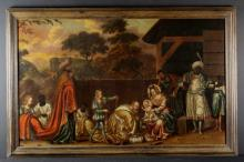 North Italian School, Circa 1600.  An Oil on Canvas: The Adoration of the Magi, 31 x 50 in (79 x 127 cm). Contained within a moulded oak frame 36 x 55 in (91 x 140 cm).