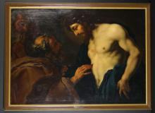 After Daniel Seiter (Circa.1642/1647-1705). An Early 18th Century Oil on Canvas Copy of a Biblical Allegory 'Doubting of Saint Thomas', with an engraved plaque to the frame attributing it to the Swedish painter David Klöcker Ehrenstrahl (1623/28-1698). 37½ ins x 53 ins (95.5 x 134.5 cms), in a moulded modern frame 41½ ins x 57 ins (105.5 x 145 cms).