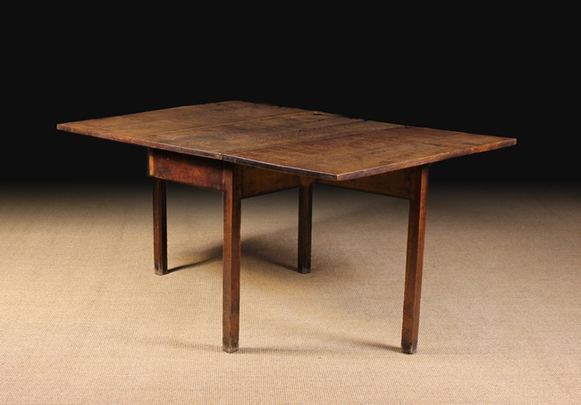 A late georgian oak drop leaf dining table the rectangular for Dining table support