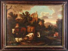 An Early 19th Century Oil on Canvas depicting an Italianate landscape with milk maid and cattle, 26 ins x 36 ins (66 cm x 91 cms) in a moulded scumbled frame, 31 ins x 41 ins (79 cms x 104 cms).