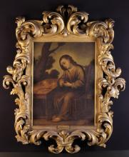 After Bartolomé Esteban Murillo (1617-1682). A Framed Oil on Canvas depicting a figure sat at table in landscape weaving a crown of thorns . The canvas 27 ins x 21 ins (69 cms x 53 cms), contained in a fine 17th century baroque gilt-wood frame boldly carved with open scrolls of undulating crested acanthus, 45 ins x 36 ins (155 cm x 91 cms).