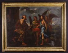 A 16th/17th Century Oil on Canvas: A Biblical Scene possibly Abraham & The Three Angels, 28 ins x 38 ins (71 cm x 96.5 cms) in a moulded gilt frame, 33 ins x 43 ins (84 cm x 109 cms).*