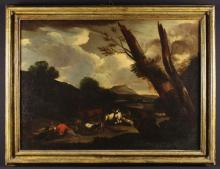 A 17th Century Oil on Canvas: Cattle & Goats with herders resting in landscape, 28 ins x 38 ins (71 cm x 96.5 cms) in a moulded gilt frame, 33 ins x 43 ins (84 cm x 109 cms).*