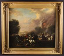 After Jacques Curtois detto il Borgognone (1621-1676). An 18th Century Oil on Canvas: Cavalry Battle Scene, 29 ins x 34 ins (74 cm x 86 cms). The cavetto moulded frame with applied scrolling foliate ornamentation to the corners and an attribution plaque inscribed Borgognone, 37½ ins x 42 ins (95 cms x 107 cms).*