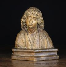 A South German Carved Limewood Bust of St John, Circa 1500, 11¼ in (28.5 cm) in height.