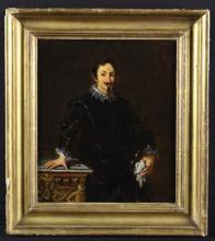 After Pietro da Cortona: A Small Oil on Canvas; a copy of a 17th Century three-quarter length portrait of Ritratto di Marcello Sacchetti circa 1626, held in the Galleria Borghese, Roma. Inscribed on verso; 'P. Cortona Borghese  Rome', 8½ in x 7½ in (21.5 cm x 19 cm), in a moulded gilt frame.