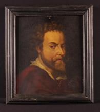 AB Normand, 1879. A 19th Century Oil on Panel; a head & shoulders self portrait after Pierre Paul Rubens, signed bottom right. 13¾ in x 11½ in (35 cm x 30 cm). Set in a moulded black painted frame 17 in x 15 in (43 cm x 38 cm).