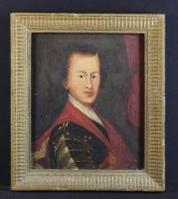 An 18th/19th Century Oil on Canvas: Portrait of a Young Man, 15 in x 12½ in (38 cm x 32 cm). Set in a ripple moulded frame 18 in x 15¾ in (46 cms x 40 c,).