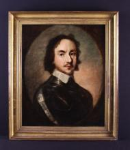 Circle of Robert Walker. A 17th Century Oil on Canvas: Portrait believed to be Oliver Cromwell wearing armour and lace collar contained within a feigned oval, 21 in x 17 in (53 cm x 43 cm). Set in a Regency giltwood frame, 25½ in x 21½ in (65 cm x 55 cm).