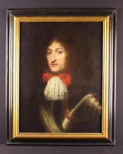 French School. A 17th Century Oil on Canvas laid onto board; A Portrait of a distinguished Military Gentleman wearing armour, lace jabot with red bow , 26½ in x 20½ in (67 cm x 52 cm). Contained within a later ebonized & giltwood frame, 32½ in x 26 in (83 cm x 66 cm).