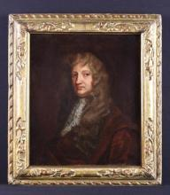 Studio of Sir Peter Lely.  A 17th Century Oil on Canvas: Portrait Study of Lord William Russell politician (1639-1683) seated wearing large wig, brown tunic and lace jabot. Contained within a good 17th Century carved giltwood frame.
