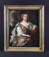 Studio of Peter Lely. An Oil on Canvas; Portrait of an unknown lady, possibly a countess, seated within a landscape wearing pearls and Romanesque finery, 16 ins x 13 in (41 cm x 33 cm). Contained within a Regency giltwood frame, 20 in x 17 in (51 cm x 43 cm).