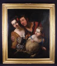 English School. An 18th Century Oil on Canvas: An unusual family portrait displaying a couple embracing within a woodland glade with their young child aside a lamb adorned by a garland of flowers, 37 in x 32 in (94 cm x 81 cm). Contained within a gilt wood frame 44 in x 38 in (112 cms x 97 cm).