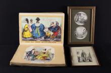 A 19th Century Decoupage Scrap Book, A Small Ink Sketch of Colyton Church signed Roy White 1949 ? and two engraved cartoons entitled 'Theives!!! The ''Strange Cat''' After George Cruikshank, mounted in a single glazed frame.*
