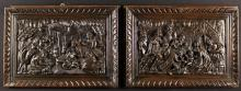 A Pair of 17th Century Carved Oak Panels depicting 'The Nativity' and 'The Adoration', set in later moulded and gadrooned frames, 16 in x 23 in (40 cm x 59 cm).