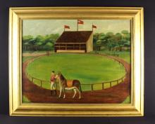 A Naive 19th Century Oil on Canvas: Provincial Scene of a Racecourse believed to be Halifax depicting a horse & jockey parading the track in the foreground, with a packed grandstand beyond, 35 in x 28 in (89 cm x 71 cm). Set within a moulded giltwood frame 44 in x 36 ins (112 cm x 91.5 cm).