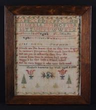 An 18th Century Sampler worked by Elizabeth Leycester, aged 11, and dated 1780, with alphabet, verse, flowers and trees, 12¼ in x 10¼ in (31 cm x 26 cm).  Set in a glazed oak frame.*