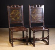 A Pair of Fine North Country Joined Oak Back Stools, Circa 1670. The crested top rails carved with foliage above panel backs with residual quatrefoil painted decoration flanked by plain uprights with pyramidal terminals. The plank seats in moulded frames standing on ball & fillet turned legs with similarly turned front stretchers and plain stretchers to the sides and rears.