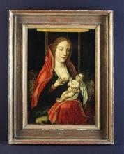 A 16th Century Flemish Oil on Panel; Maria Lactens 17 ins x 12 in (43 cms x 30 cm), in a 19th century Florentine moulded gilt frame, 23 in x 18 in (58 cms x 46 cm).