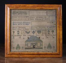 An Unusual 19th Century Sampler by Elizabeth Newitt aged 12, dated January 29th 1834, possibly Scottish.  The sampler worked  of the names and birth dates of her family members in panels above 'Remember the Sabbath Day to keep it holy' and a housed flanked by trees. In a glazed maple frame 15 in x 16 in (38 cm x 41 cm).