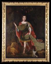 A Fine 17th Century Anglo Dutch School Oil on Canvas, Circa 1680: Full length Portrait of a Young Nobleman within a woodland setting dressed in classical attire and holding a houlette, with a sheep and spaniel at his feet, 53 ins x 40½ ins (135 cms x 103 cms), within it's original wood frame carved with clusters of flowers and foliage, 60 ins x 47½ ins (152 cms x 121 cms).