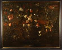 Italian School. A 17th Century Oil on Canvas; A Large and Impressive Still Life: flower study of roses, peonies and tulips contained within elaborately chased urn and landscape beyond, 61 in x 49 in (155 cm x 124.5 cms) Contained in a later ebonized frame, 64 in x 52 in (163.5 cm x 132 cm).