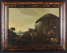 Flemish School. A 17th/18th Century Oil on Canvas: A Country landscape with merry makers outside thatched dwelling, 19 in x 26 in (48 cm x 66 cm). Contained in a tortoiseshell veneered and ripple moulded frame, 26 in x 33 in (66 cm x 84 cm).