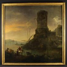 Circle of Karel Dujardin (1626 -pre 1678) An Oil on Canvas:  Italianate River Scene with figures in foreground and a tower beyond, 43 in x 44 ins (109 cm x 111.5 cms.) in a moulded gitl frame 47 in x 47½ in (120 cm x 121 cm).
