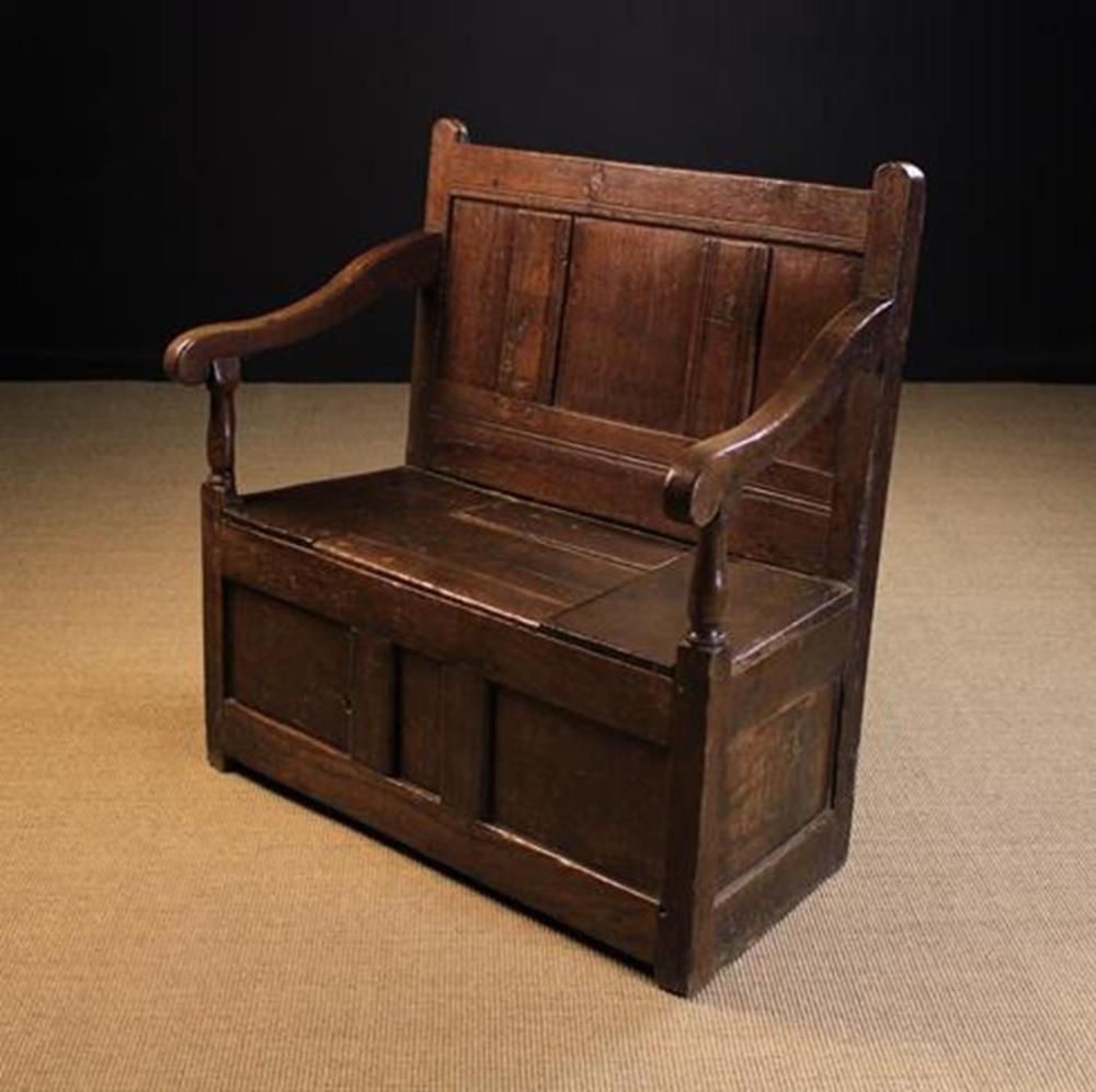Astonishing A Small 19Th Century Joined Oak Box Seated Settle Made From Beatyapartments Chair Design Images Beatyapartmentscom