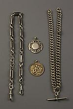 A Silver open box-link Watch Chain with clips to