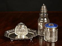 A Silver Mounted Condiment Bottle, Inkwell and