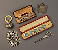 A Collection of Silver Bijouterie; a cased set of