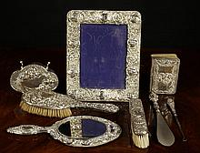 A Silver Dressing Table Set, Trinket Box, Picture