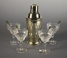 A Fine Art Deco Cased Silver & Cut Glass Cocktail