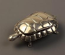 A Silver Snuff Box in the form of a tortoise