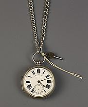 A Gentleman's Silver Pocket Watch, winding key and