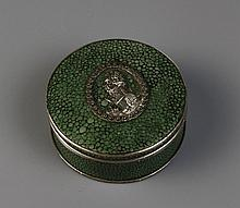 A Circular Shagreen Snuff Box with Decorative