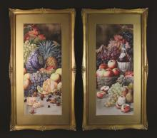 Giovanni Barbaro (1864-1915). A Pair of Watercolour Still Life Paintings of Fruit, signed bottom right, 29½ ins x 12 ins (75 cm x 31 cms), mounted in glazed swept gilt frames 39½ ins x 21½ ins (100  cms x 55 cms).