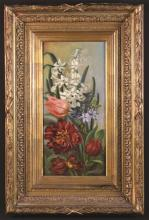 Jules Meylaert (1856-1920). An Oil on Panel: Still Life of Flowers, signed J. Maylaert 1897 bottom right, 17¾ ins x 8¾ ins (45 cm x 22 cms), in a decorative gilt frame 26¾ ins x 17¾ ins (68 cm x 45 cms).