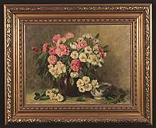 Elias Stark (1849-1933). Oil on Canvas; Still Life with jug of blossom, signed S. Elias bottom right 13½ ins x 17¾ ins (34 cm x 45 cms), in a decorative gilt frame 19¾ ins x 24 ins (50 cm x 61 cms).